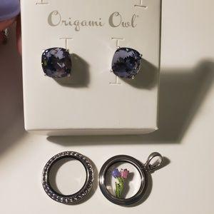 Lavender petite locket and earrings